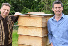 Presenter, Chris Packham with Professor Adam Hart, revealing the mysteries of the honeybee using technology from North East-based Arnia Limited.
